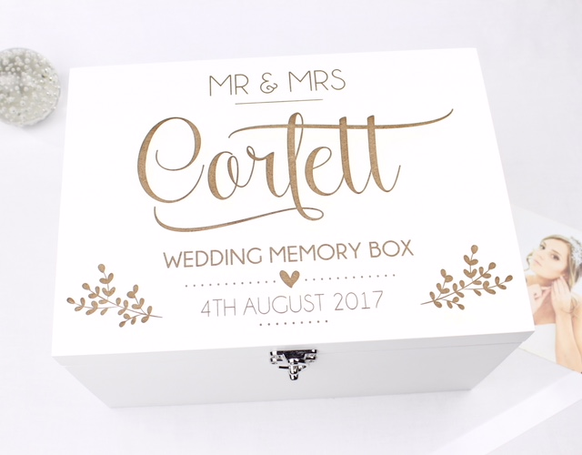 Personalised Luxury White Wedding Keepsake Box