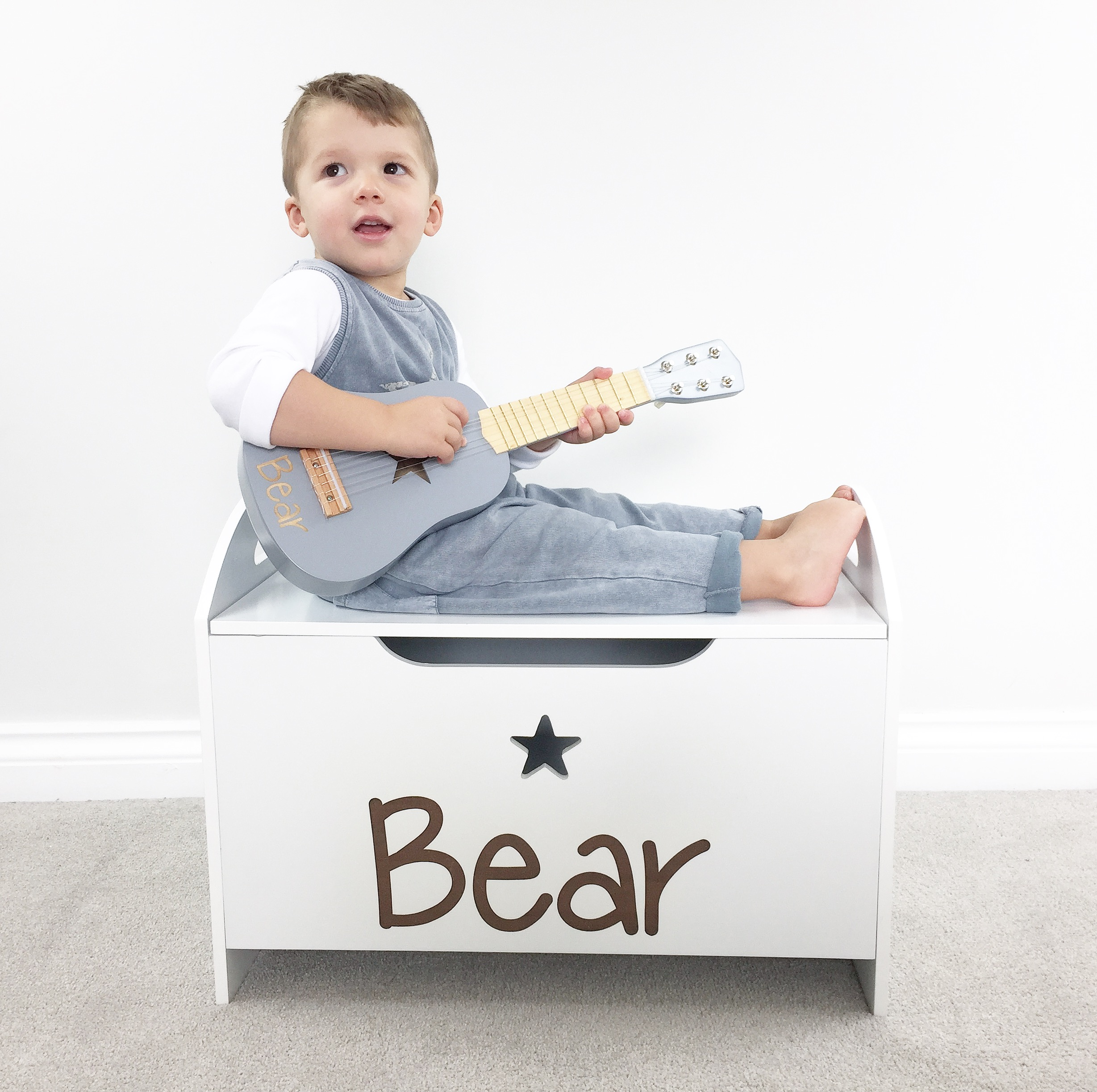 Baby Bedroom In A Box Special: Personalised White Star Toy Box