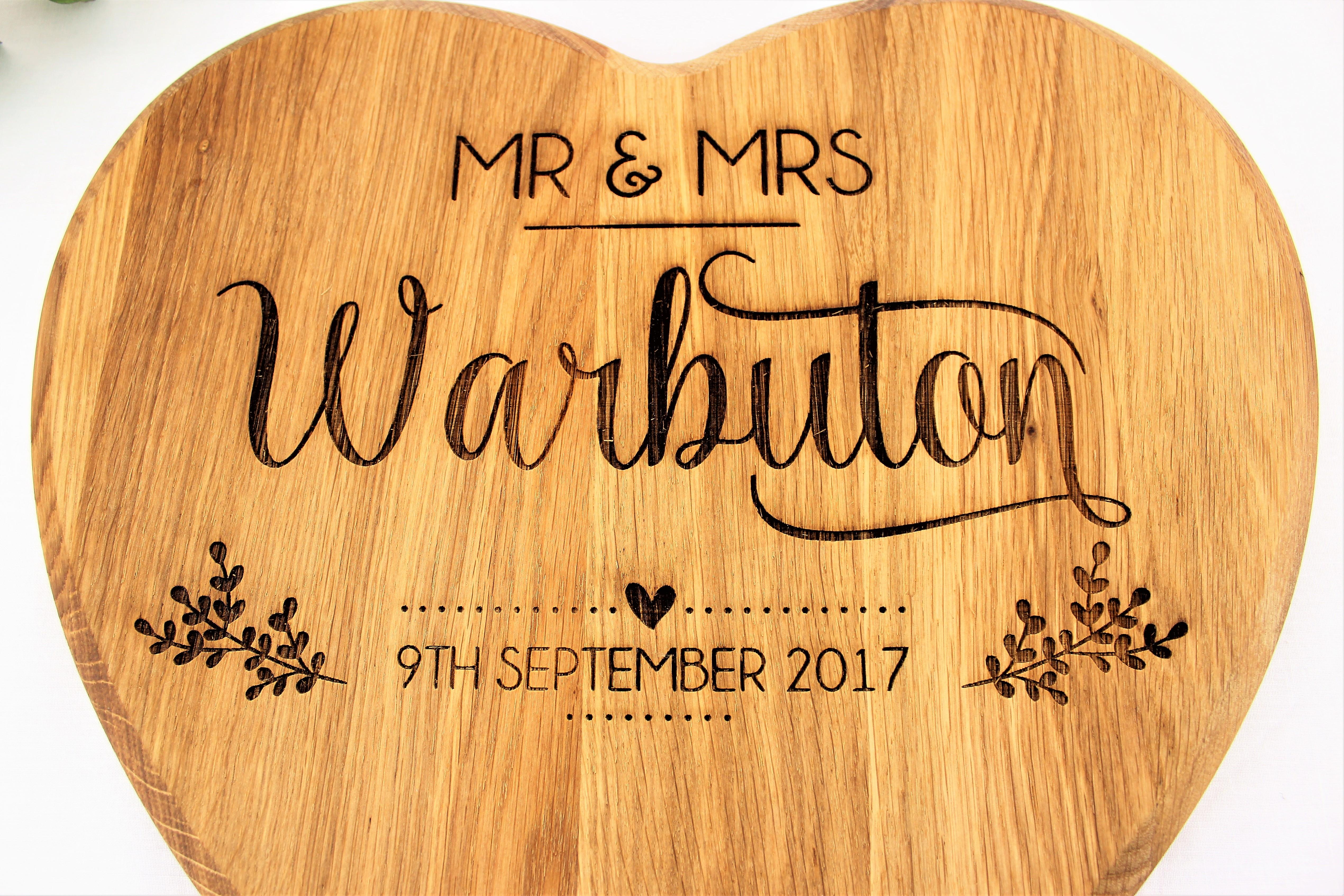 personalised solid oak heart shaped chopping board