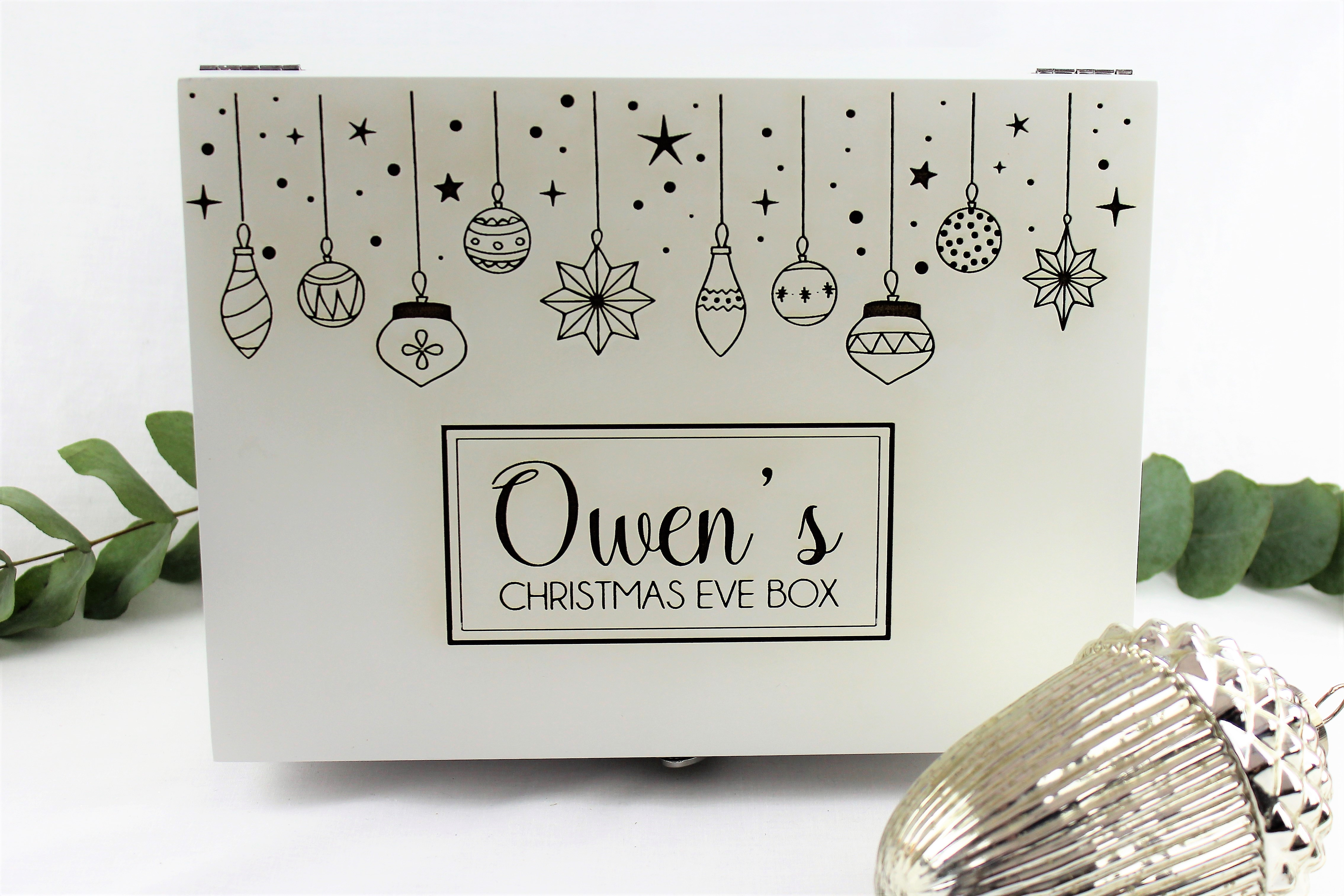 personalised luxury white Christmas eve box