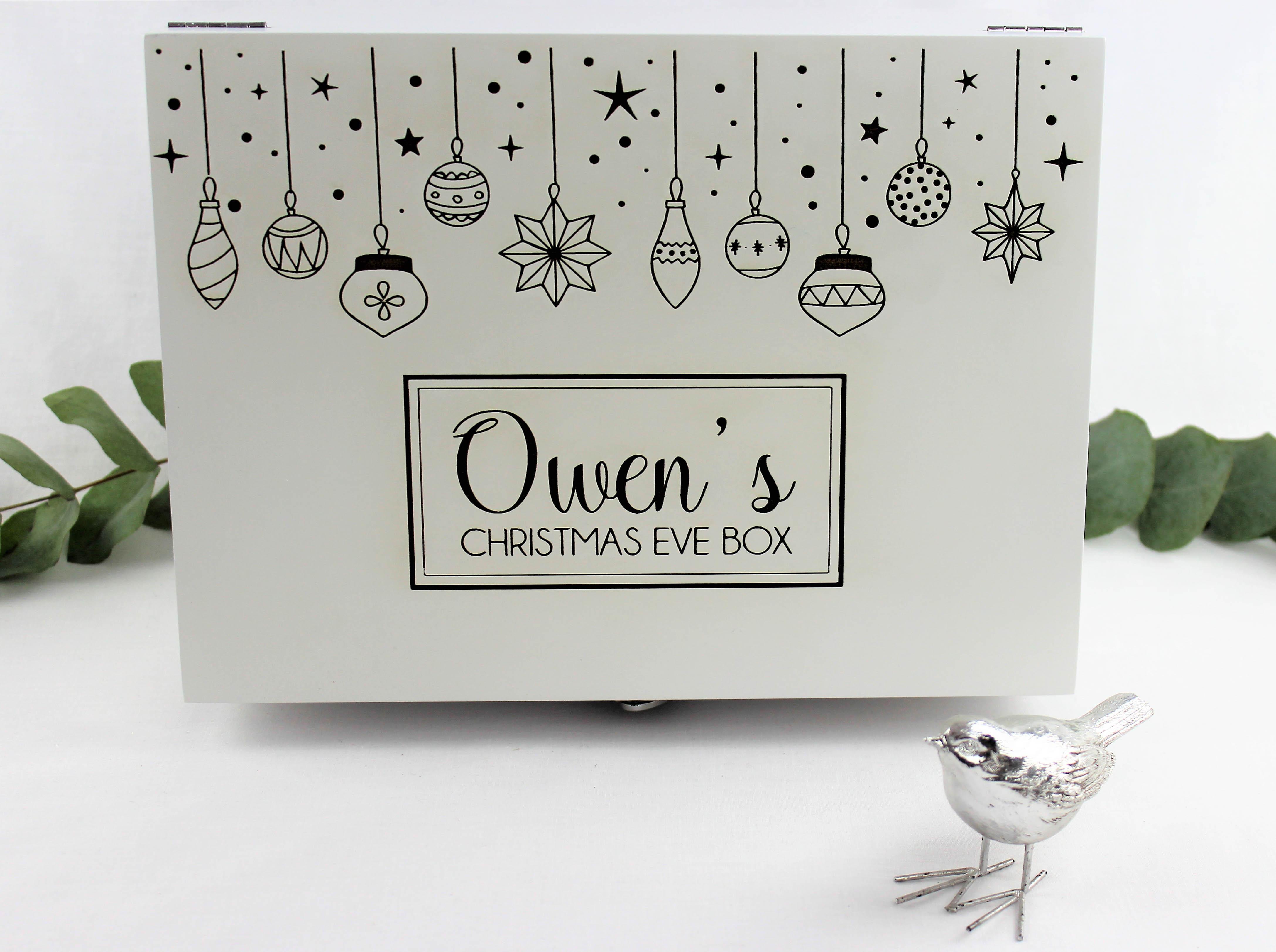 Personalised Luxury White Christmas Eve Box | Hopwood Laser Design