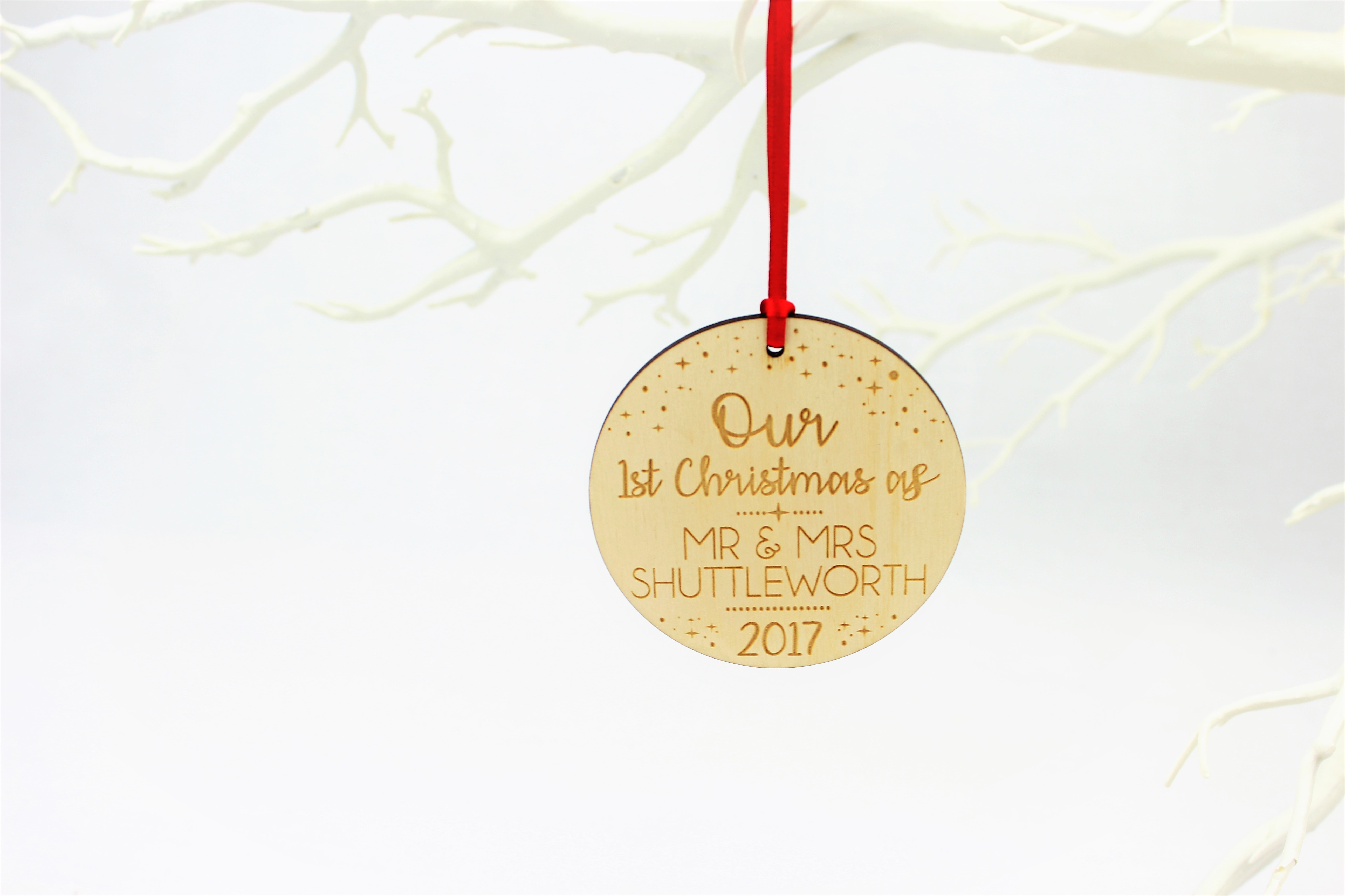 Personalised Christmas tree decoration, 1st Christmas as Mr & Mrs