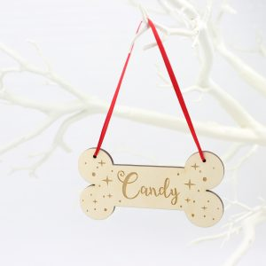 Personalised dog bone Christmas tree decoration