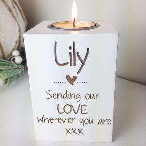 Sending our love wherever you are tea light holder