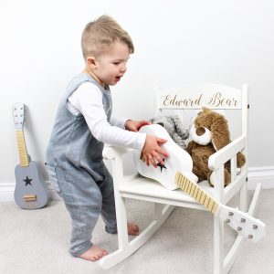 Personalised children's white rocking chair