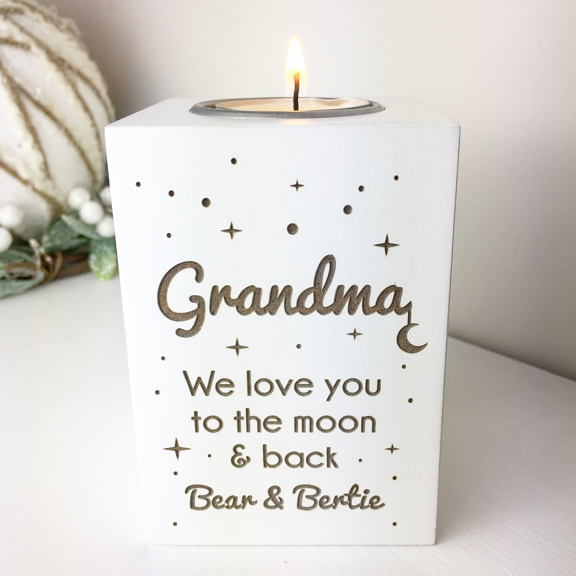 Love you to the moon and back tea light holder