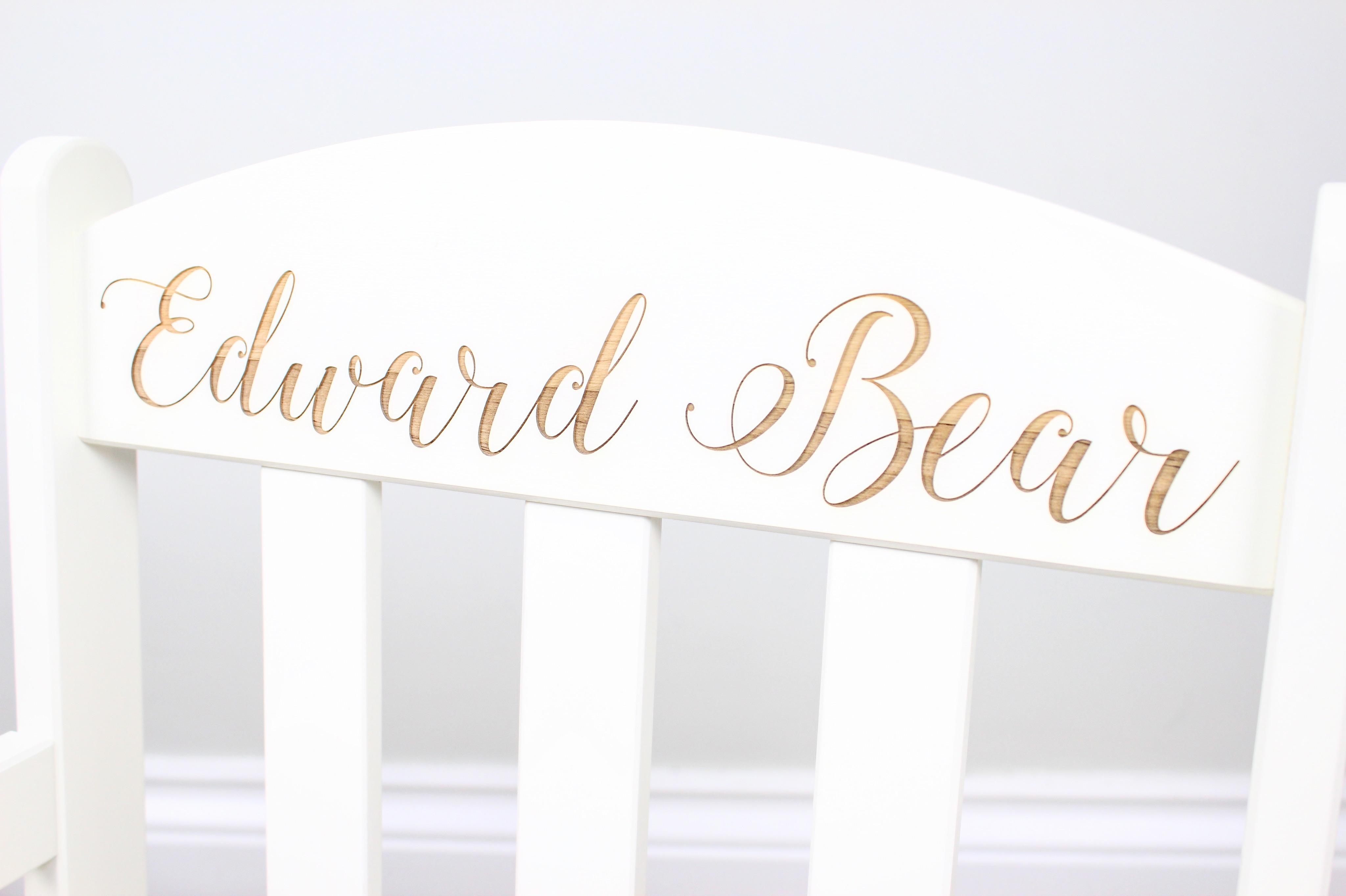 Personalised children's white rocking chair