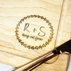 Personalised heart wreath chopping board