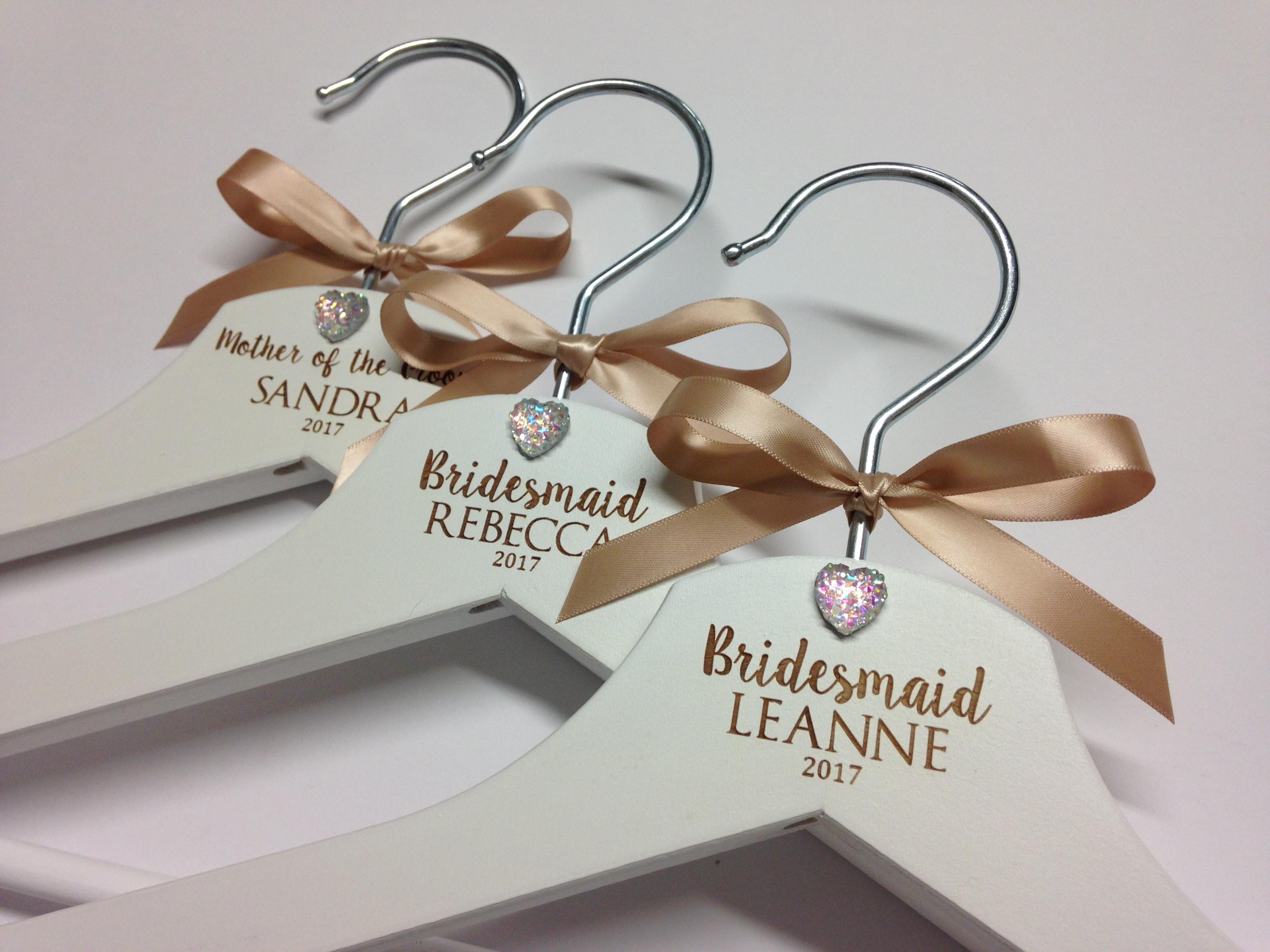 Gold Ribbon - Personalised bridal wedding hangers jewel design
