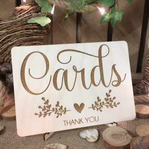 Wooden rustic card sign