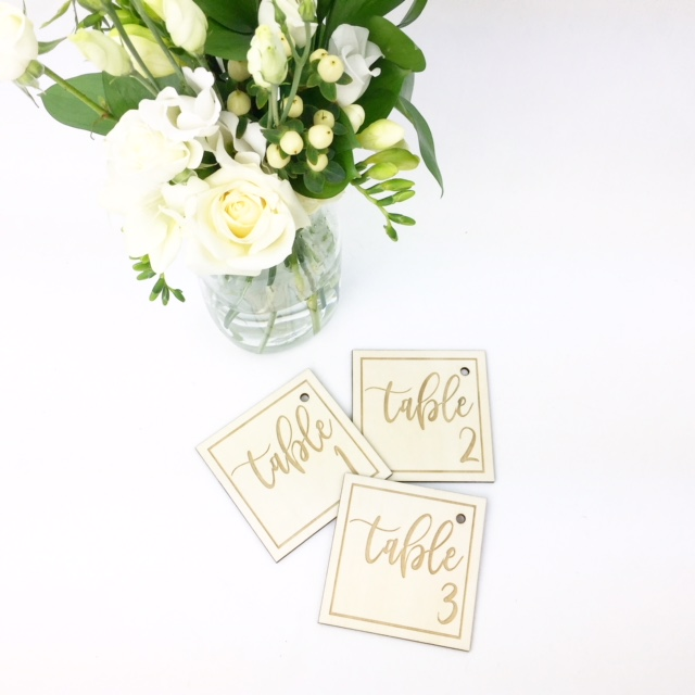 Rustic table number tags