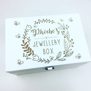 Personalised white jewellery box
