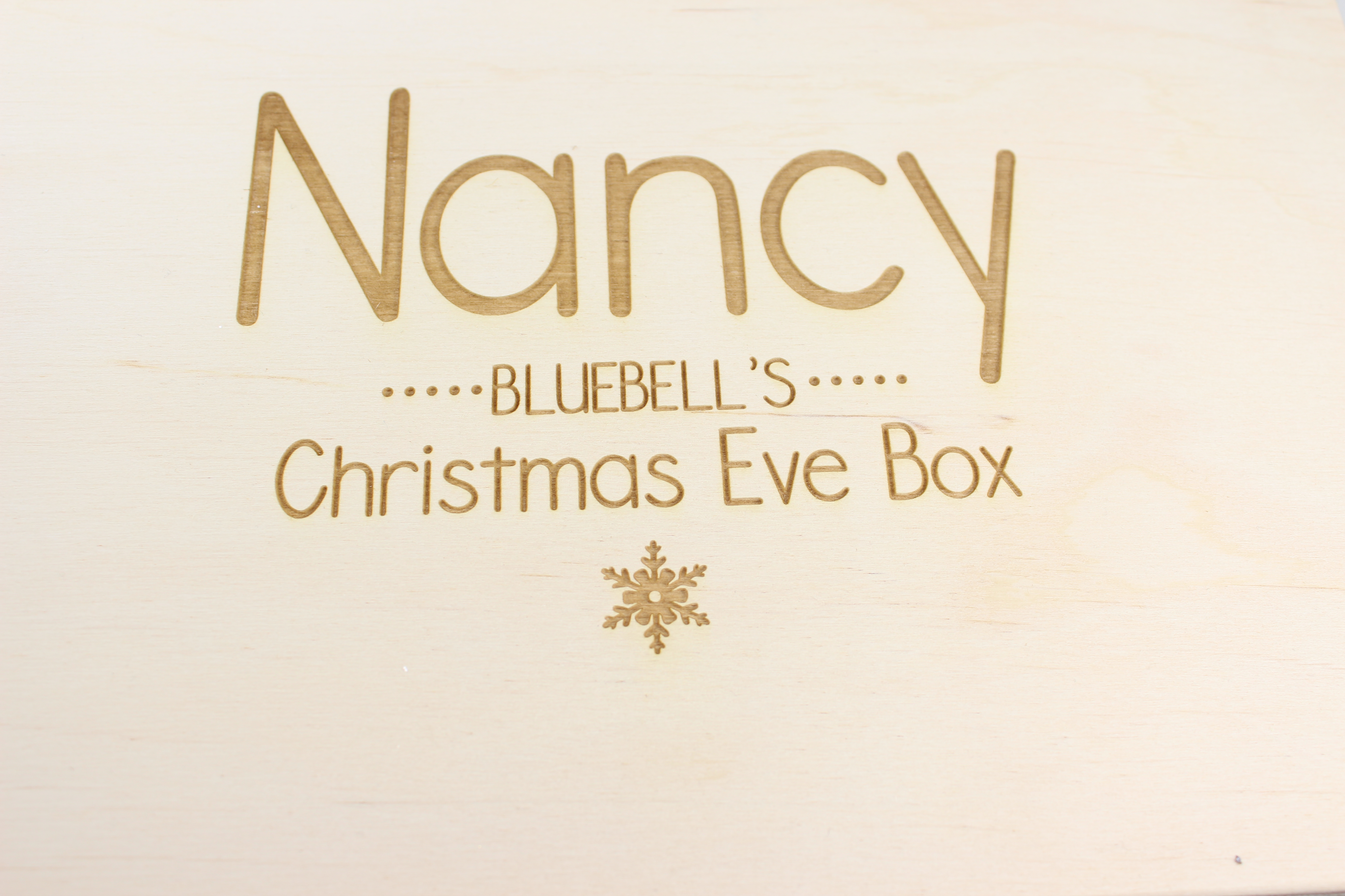 Personalised wooden Christmas Eve Box with snowflake