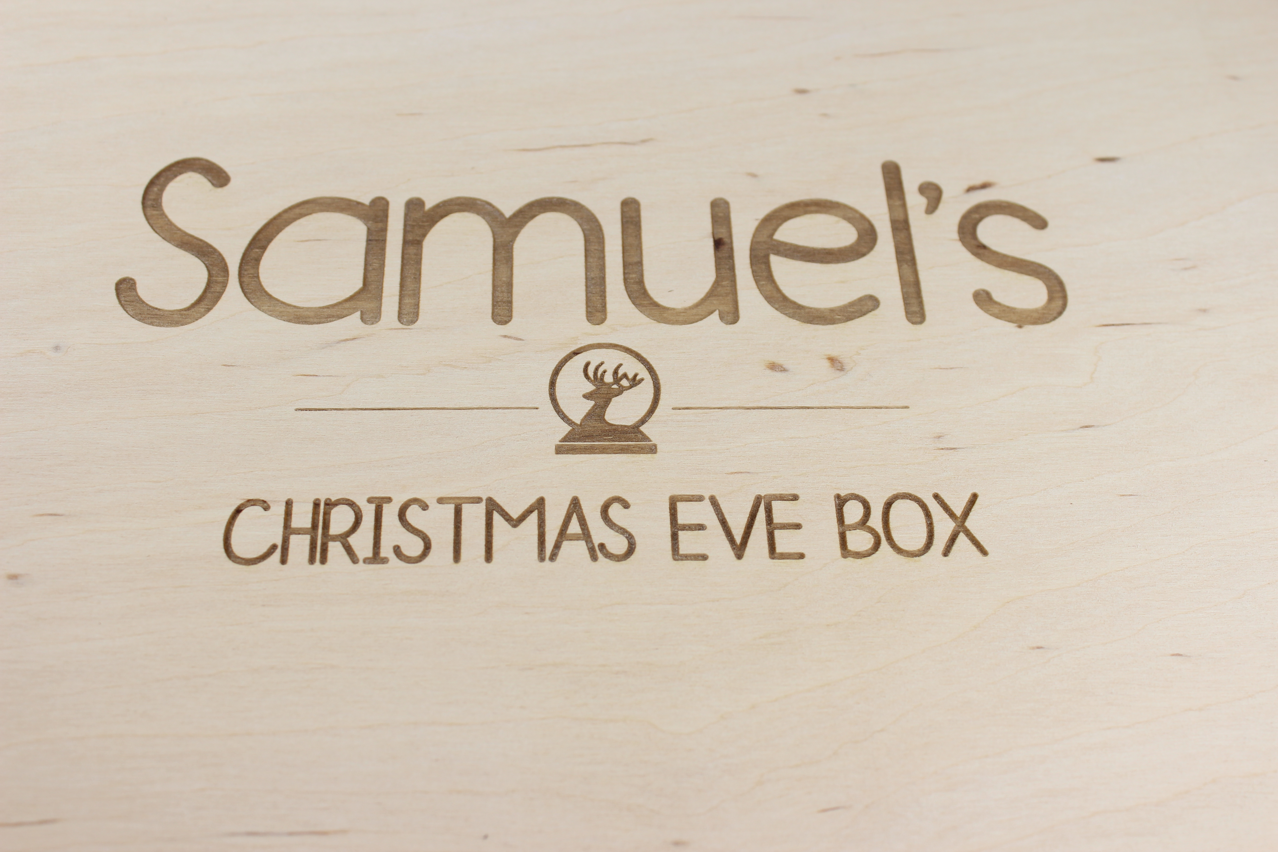 Personalised wooden Christmas Eve Box with reindeer