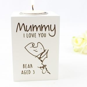 Personalised kids artwork tea light holder