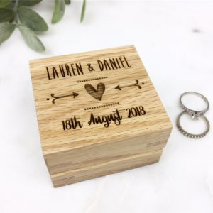 Personalised solid oak ring box
