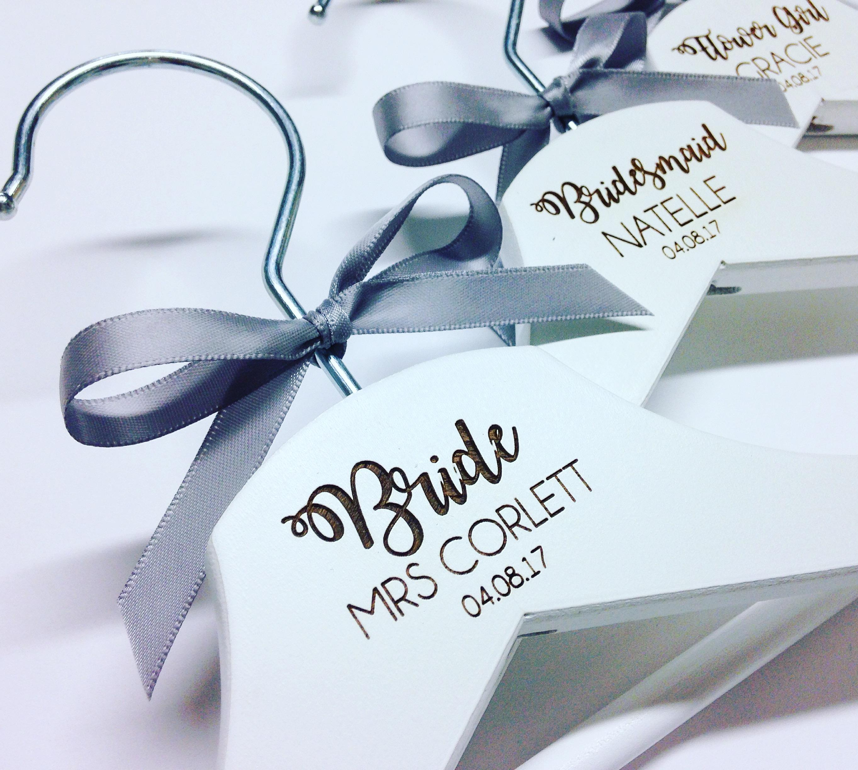 Personalised bridal wedding hangers